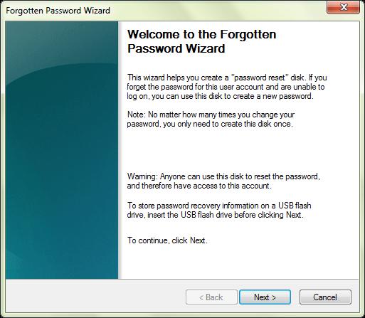 Создать диск сброса пароля